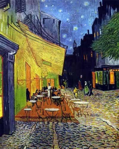 landschaften-gemaelde - Caféterrasse am Abend - Van Gogh, Vincent