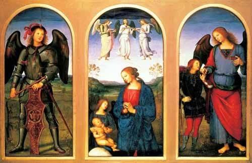 religioese-gemaelde - La Virgen y el Niño con los arcángeles Miguel y Rafael - Perugino, Pietro Vannucci