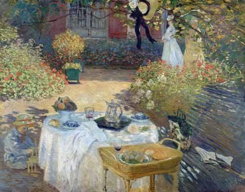 landschaften-gemaelde - Das Mittagessen: Monets Garten in Argenteuil, 1874 - Monet, Claude