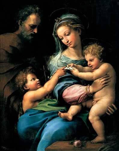 religioese-gemaelde - La Virgen de la Rosa - Raphaël, Sanzio da Urbino Raffael