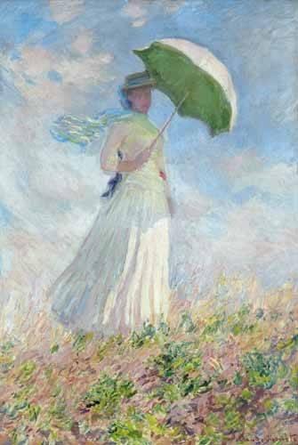 portraetgemaelde - Frau mit Sonnenschirm, nach rechts gewendet - Monet, Claude