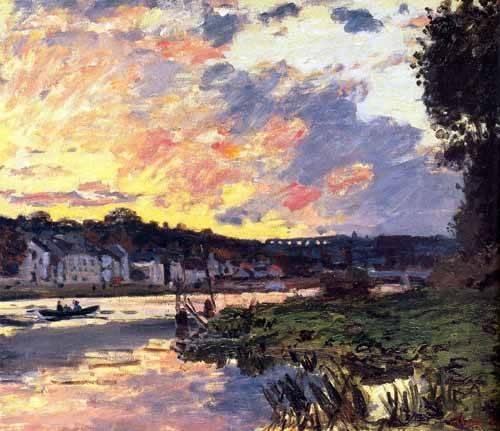 landschaften-gemaelde - La Seine à Bougival le soir - Monet, Claude