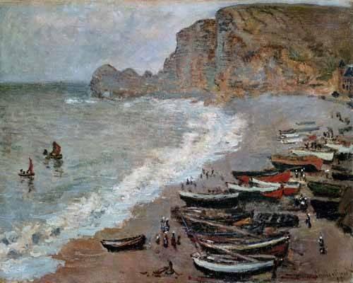 seelandschaft - Etretat : la plage et la porte d'Amont, 1883 - Monet, Claude