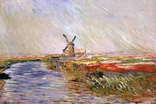 landschaften-gemaelde - Champs de tulipes en Hollande - Monet, Claude