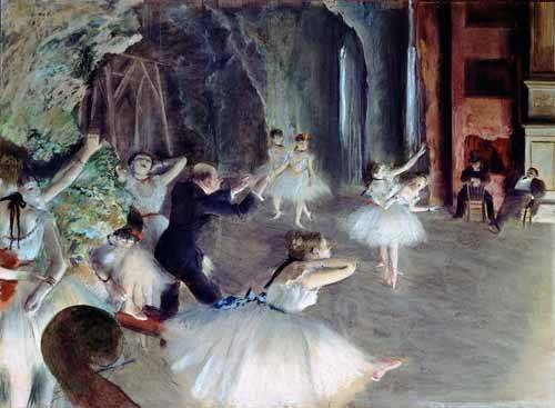 portraetgemaelde - La répétition du ballet sur scène - Degas, Edgar