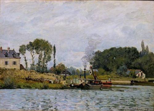seelandschaft - Boats at the lock at Bougival, 1873 - Sisley, Alfred