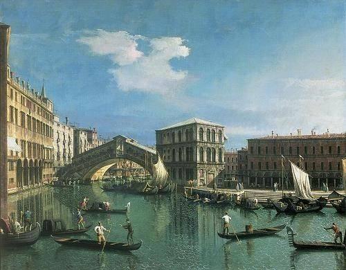 seelandschaft - The Rialto Bridge, Venice - Canaletto, Giovanni A. Canal