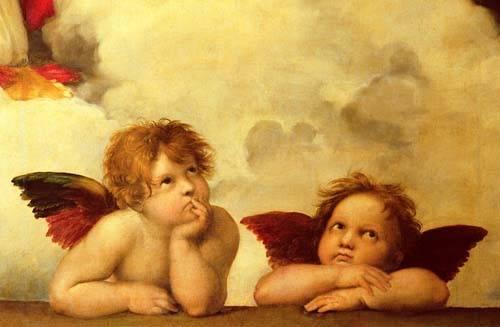 religioese-gemaelde - Les deux anges - Raphaël, Sanzio da Urbino Raffael
