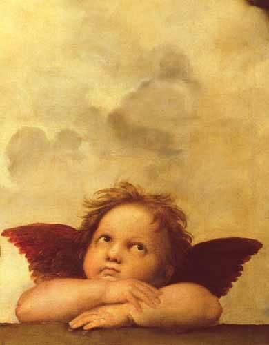 religioese-gemaelde - Les deux anges (détail de l'ange droit) - Raphaël, Sanzio da Urbino Raffael