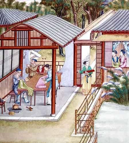 orientalische-gemaelde - Despacho de un comerciante de telas - _Anonym China