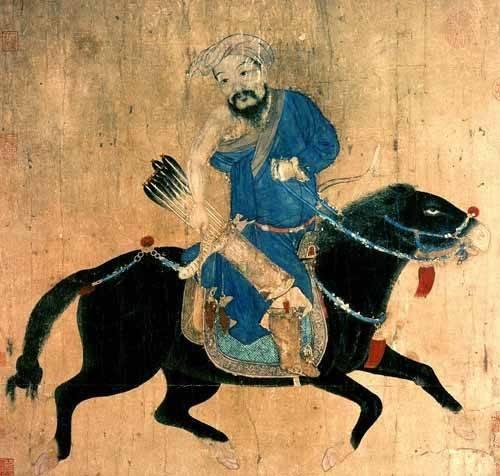 orientalische-gemaelde - Arquero Mongolo a caballo - _Anonym China