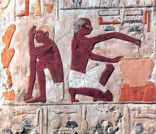 orientalische-gemaelde - Elaboración del pan, 2500-2300 a.C. - _Anonym Ägypten