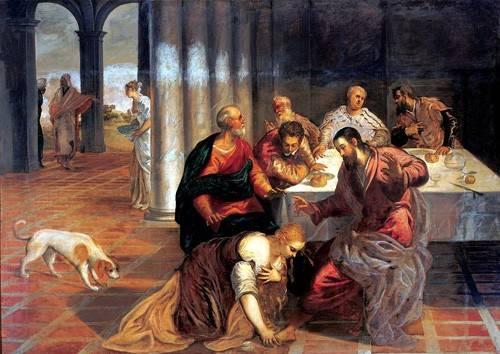 religioese-gemaelde - La conversión de Magdalena - Tintoretto, Jacopo Robusti