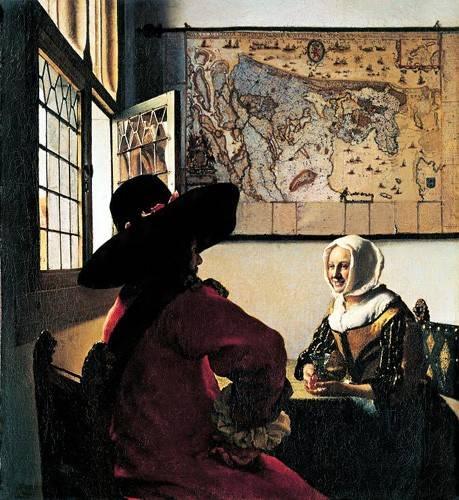 portraetgemaelde - Soldat et jeune fille riant - Vermeer, Johannes