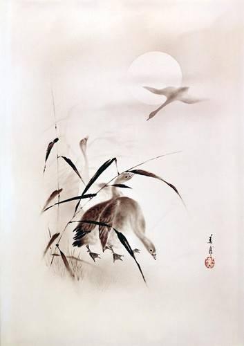 orientalische-gemaelde - Gansos al atardecer - _Anonym China