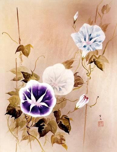 orientalische-gemaelde - Enredadera con flores moradas y azules - _Anonym China