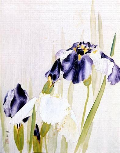 orientalische-gemaelde - Lirios violáceos - _Anonym China