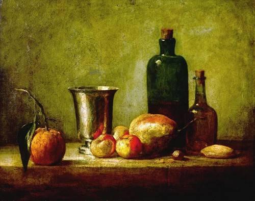 stillleben-gemaelde - Cubilete de plata, fruta y botellas - Chardin, Jean Bapt. Simeon