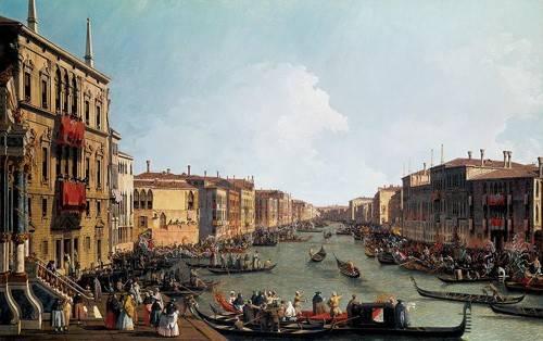 landschaften-gemaelde - Les régates sur le grand canal - Canaletto, Giovanni A. Canal