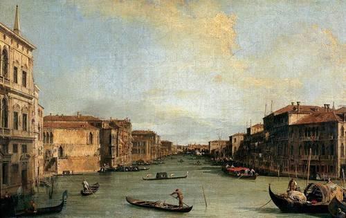 landschaften-gemaelde - Canal Grande en Rialto - Canaletto, Giovanni A. Canal