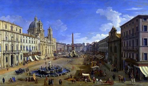 landschaften-gemaelde - Roma, vista desde la Piazza Navona - Canaletto, Giovanni A. Canal
