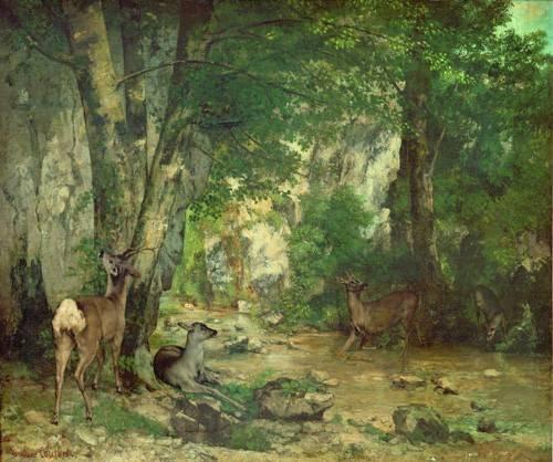 landschaften-gemaelde - A Thicket of Deer at the Stream of Plaisir Fountaine - Courbet, Gustave