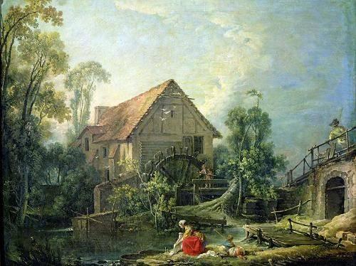 landschaften-gemaelde - The Mill, 1751 (oil on canvas) - Boucher, François