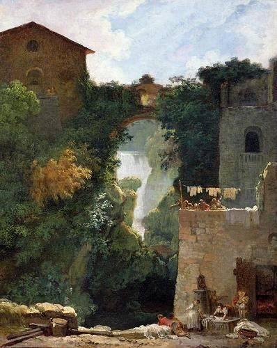 landschaften-gemaelde - The Falls of Tivoli (oil on canvas). - Fragonard, Jean Honoré