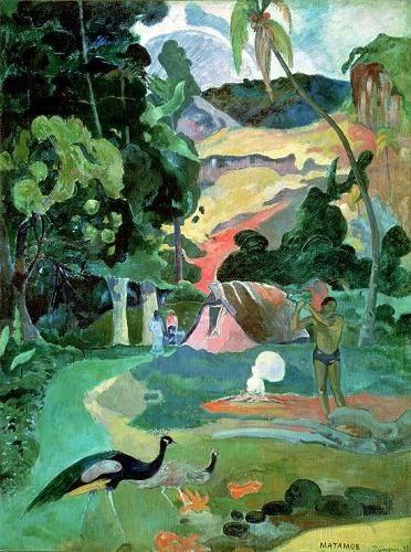 landschaften-gemaelde - Matamoe or, Landscape with Peacocks - Gauguin, Paul