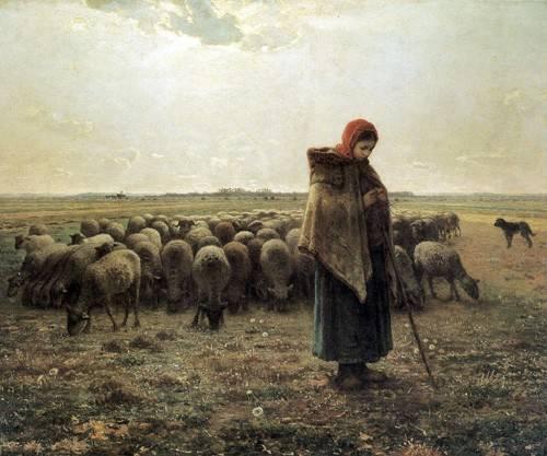 landschaften-gemaelde - Bergère avec son troupeau, 1862-1864 - Millet, Jean François