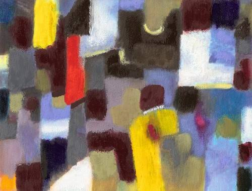 abstrakte-gemaelde - Abstrakt. Paar und Stadt (I) - Molsan, E.