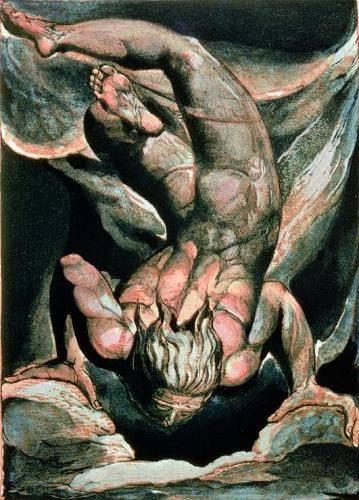portraetgemaelde - The First Book of Urizen, Man floating upside down - Blake, William