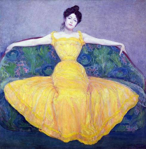 portraetgemaelde - Lady in a Yellow Dress, 1899 - Kurzweil, Max