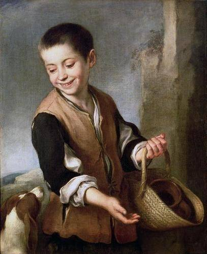 portraetgemaelde - Muchacho con un perro, c.1650 - Murillo, Bartolome Esteban