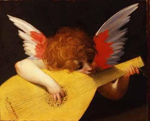religioese-gemaelde - Angel tocando el laúd - Fiorentino, Rosso