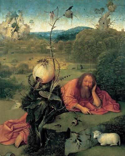 religioese-gemaelde - San Juan Bautista en meditación - Bosco, El (Hieronymus Bosch)