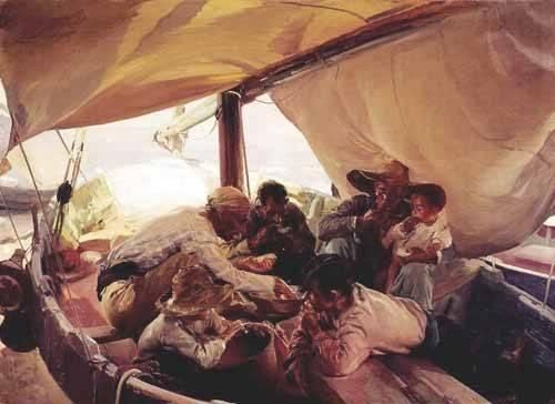 portraetgemaelde - Déjeuner sur le bateau - Sorolla, Joaquin