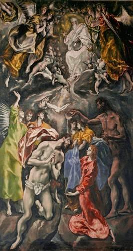 religioese-gemaelde - El Bautismo De Cristo - Greco, El (D. Theotocopoulos)