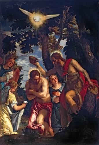 religioese-gemaelde - El Bautismo De Cristo - Veronese, Paolo