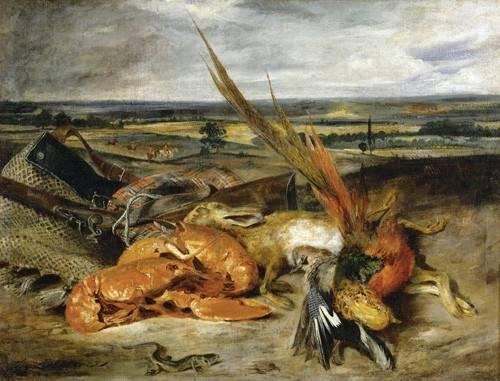 stillleben-gemaelde - Bodegón con langosta, 1827 - Delacroix, Eugene