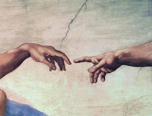 religioese-gemaelde - Mains de Dieu et Adam, détail de la création - Buonarroti, Miguel Angel