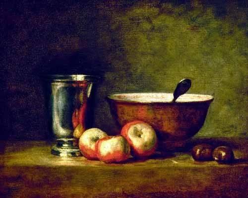 stillleben-gemaelde - Pommes, marrons, bol et gobelet - Chardin, Jean Bapt. Simeon