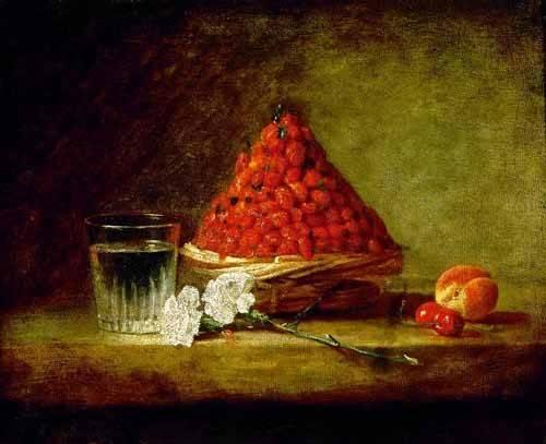 stillleben-gemaelde - Cesto con fresas salvajes - Chardin, Jean Bapt. Simeon
