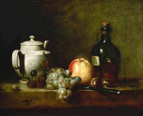 stillleben-gemaelde - Tetera blanca, uvas, castañas, cuchillo y botellas - Chardin, Jean Bapt. Simeon