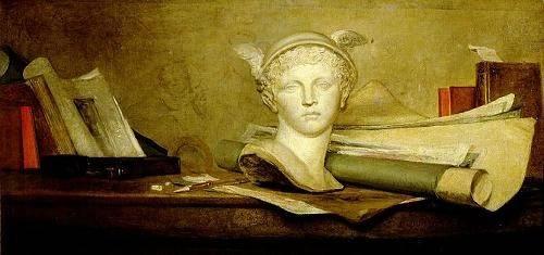 stillleben-gemaelde - Still Life with Attributes of the Arts - Chardin, Jean Bapt. Simeon
