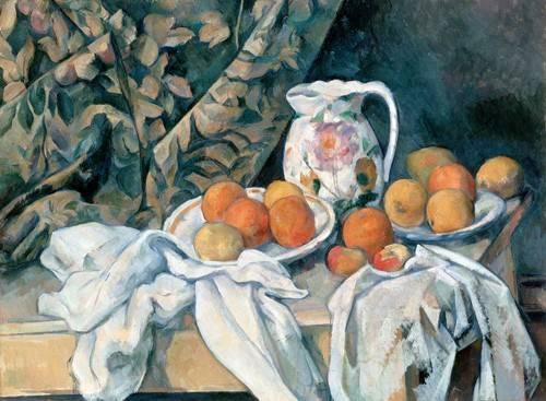 stillleben-gemaelde - Nature morte au rideau - Cezanne, Paul