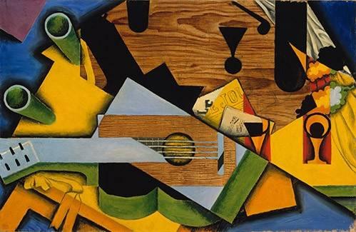 abstrakte-gemaelde - Stillleben auf der Gitarre - Gris, Juan