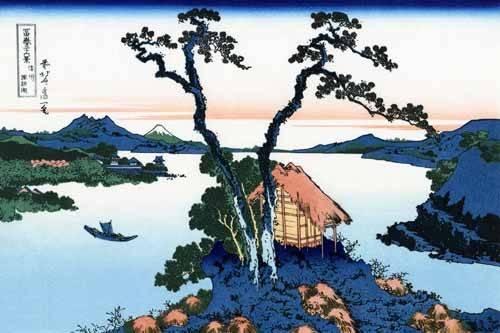 orientalische-gemaelde - Lake Suwa in the Shinano province - Hokusai, Katsushika