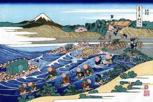orientalische-gemaelde - The Fuji from Kanaya on the Tokaido - Hokusai, Katsushika