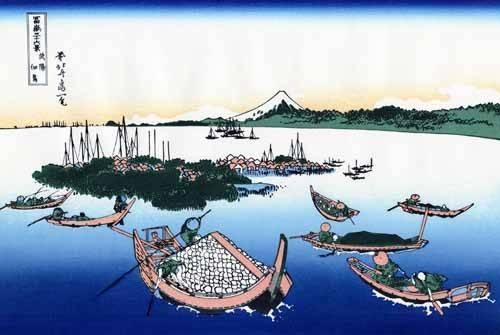 orientalische-gemaelde - Tsukada Island in the Musashi province - Hokusai, Katsushika